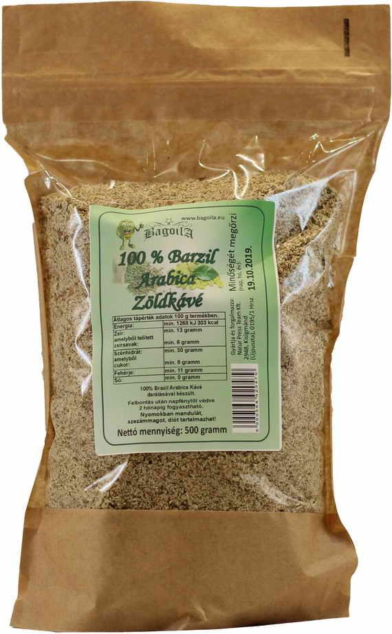 Bagoila 100 % Arabica Zöld Kávé Őrlemény 500 gramm